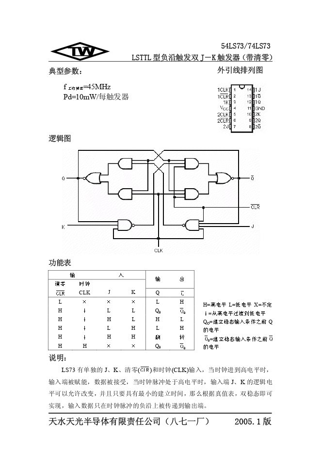 74LS73中文资料参数
