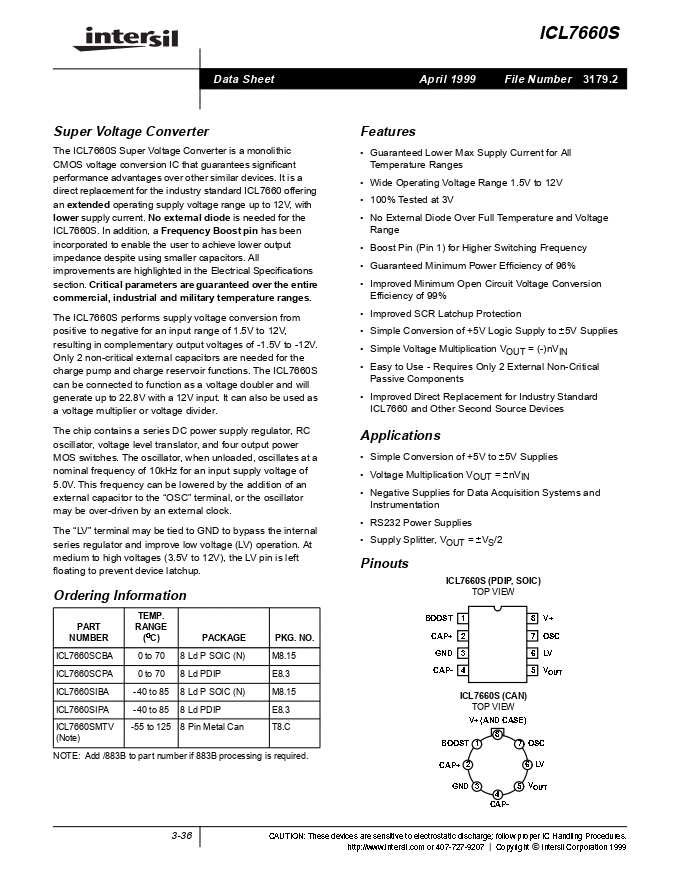 ICL7660SCBA Pdf资料