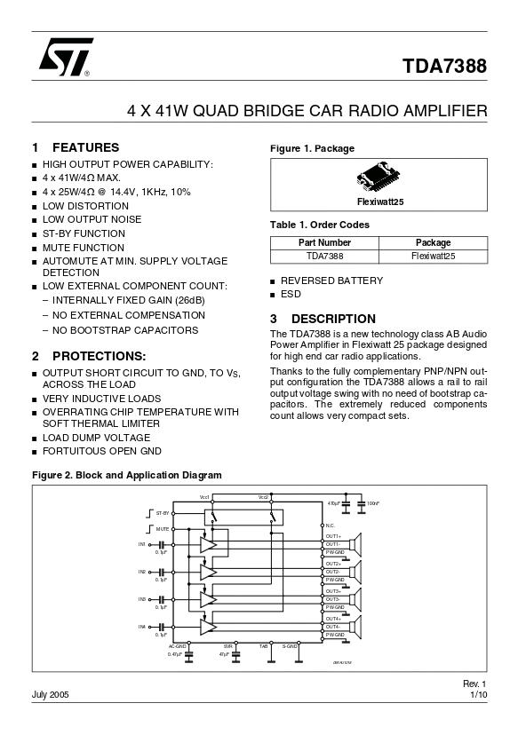 TDA7388 4声道41W 功放集成电路Pdf资料1