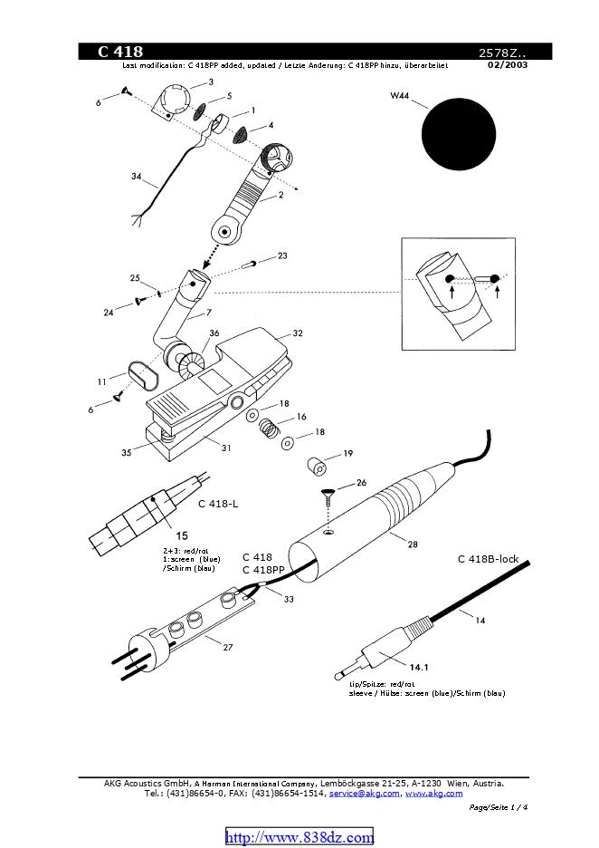 AKG C418夹式电容话筒维修手册