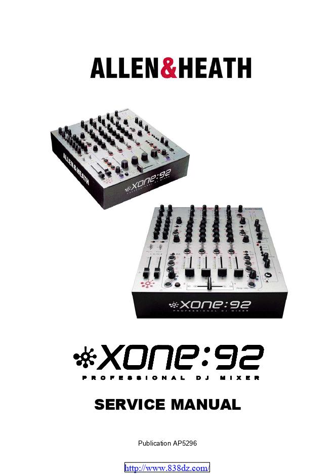ALLEN & HEATH XONE:92 混音台维修图纸