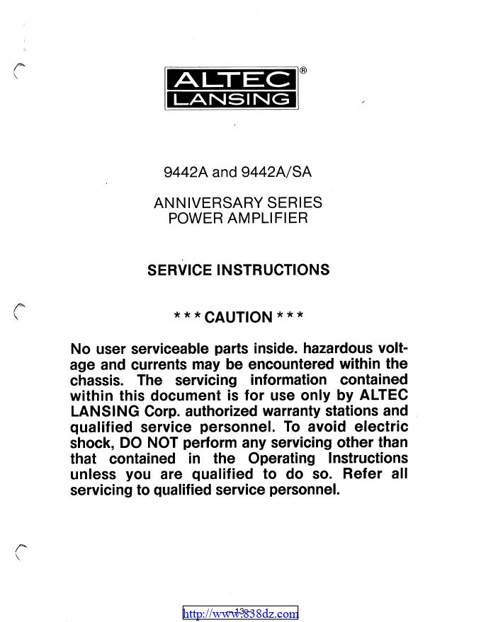 Altec lansing 9442A 监听功放维修图纸