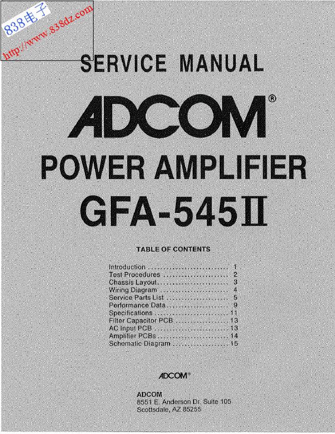 ADCOM爱琴GFA-545II后级功放维修手册