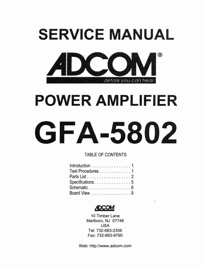 ADCOM爱琴GFA-5802后级功放电路图