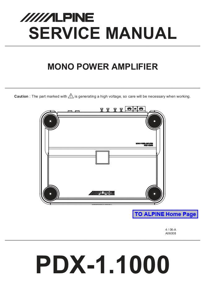 阿尔派Alpine PDX-1.1000汽车音响维修手册