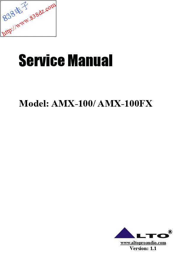 ALTO欧图AMX-100FX 10路带DSP效果调音台维修手册