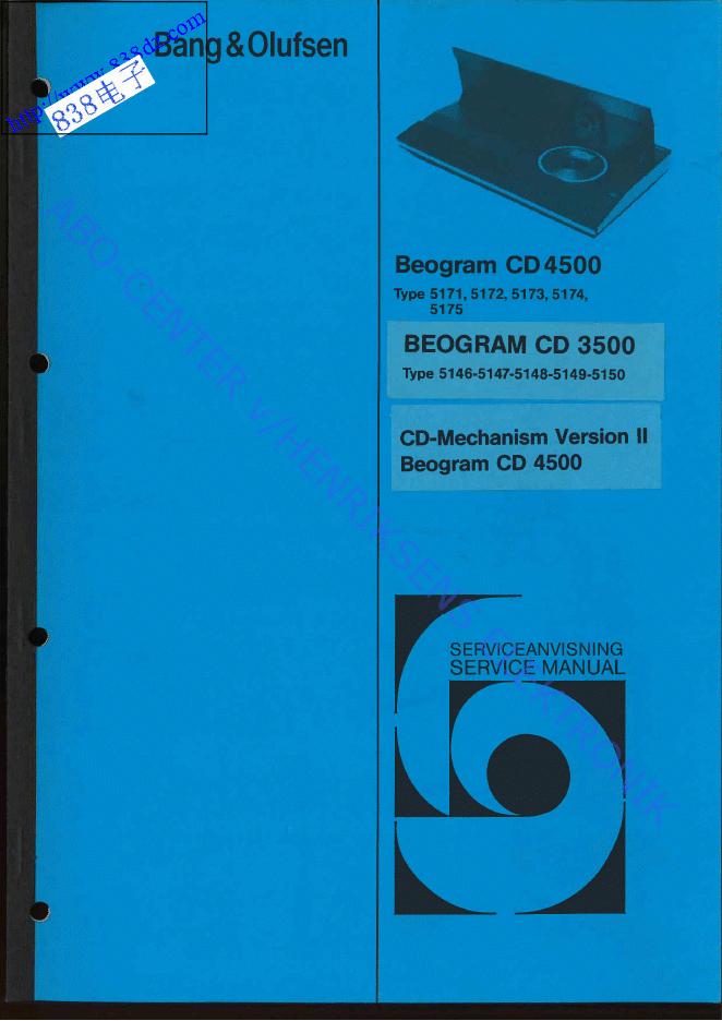 BANG & OLUFSEN BEOGRAM CD4500 CD播放机维修手册