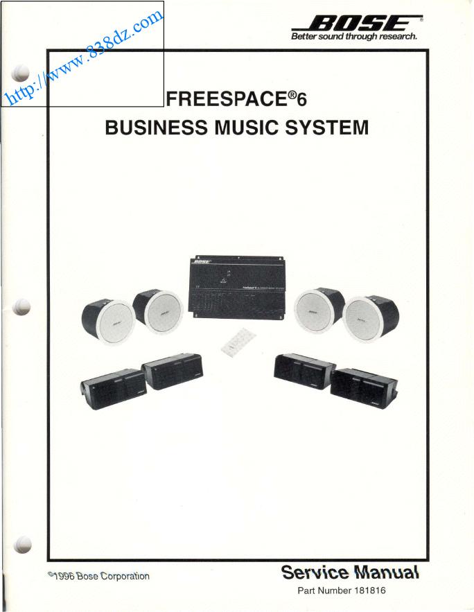 BOSE 博士Freespace 6全频带驱动器音响功放电路图 维修手册