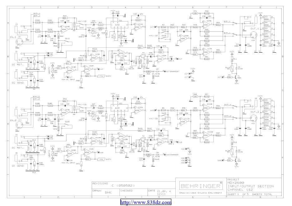 百灵达Behringer MDX2600效果器维修电路图