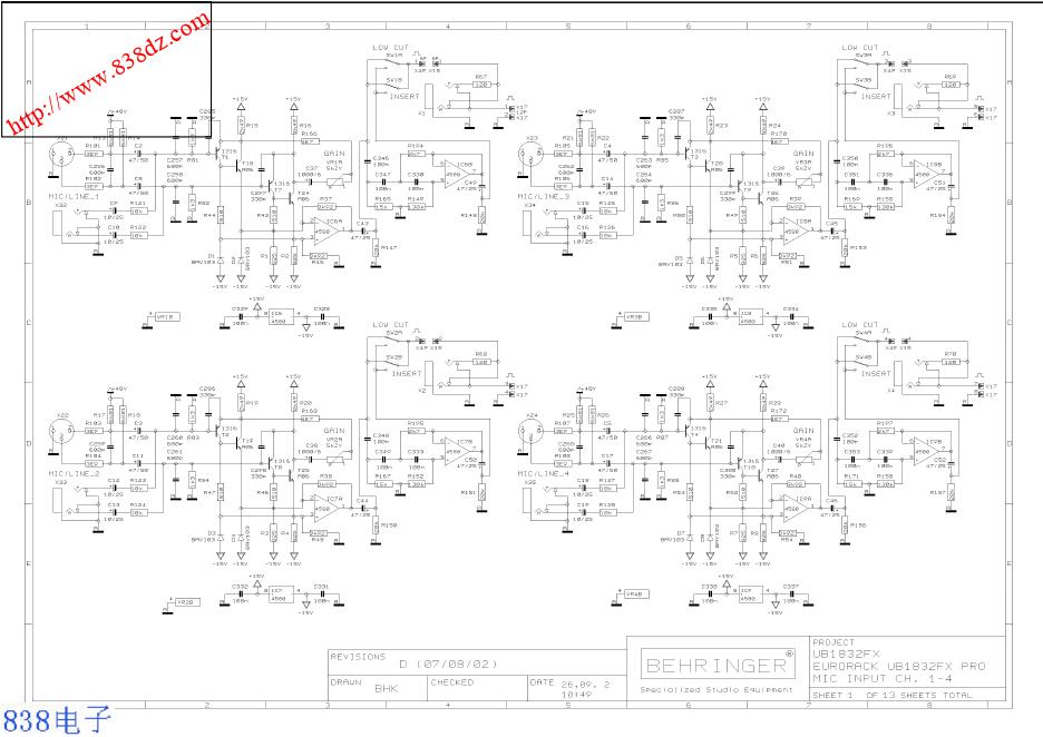 BEHRINGER 百灵达 UB1832FX-PRO调音台电路图