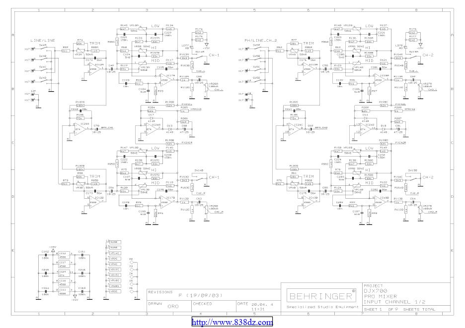 百灵达Behringer DJX700 维修电路图