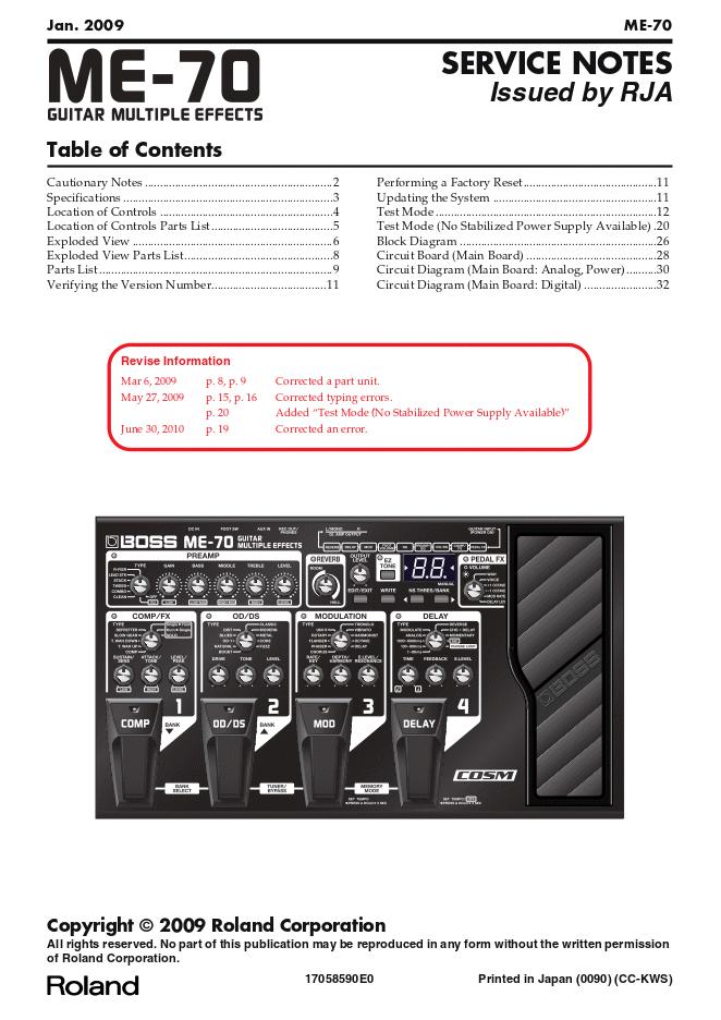 BOSS ME-70音色表维修手册