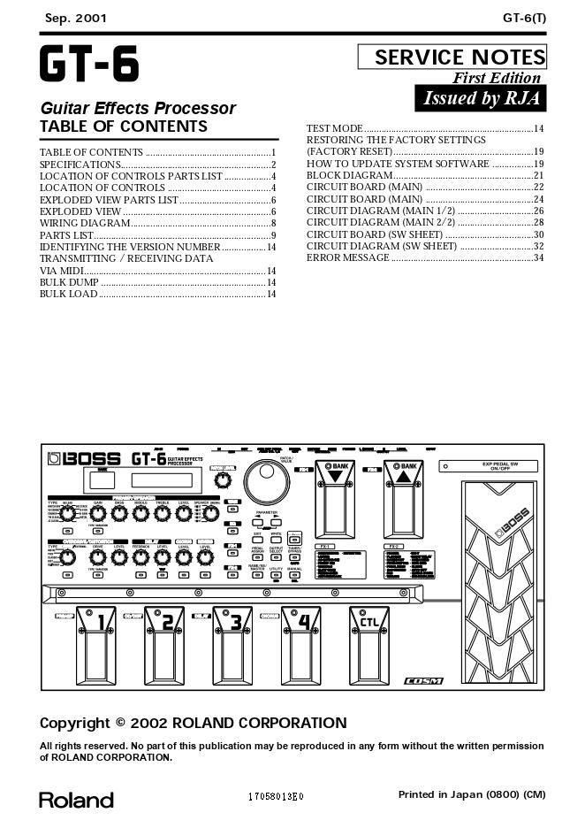 BOSS GT-6吉他特效处理器维修手册