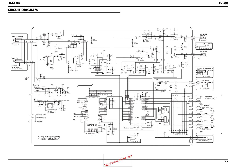 Boss RV5 数字混响效果器维修图纸