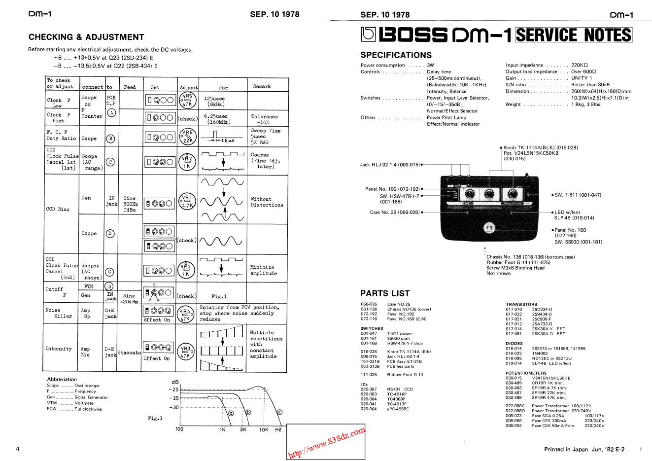 Boss DM-1延迟模拟延时音色效果器维修手册