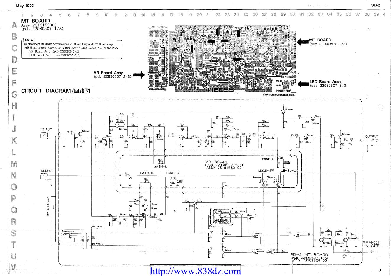 boss sd2效果器维修电路图纸