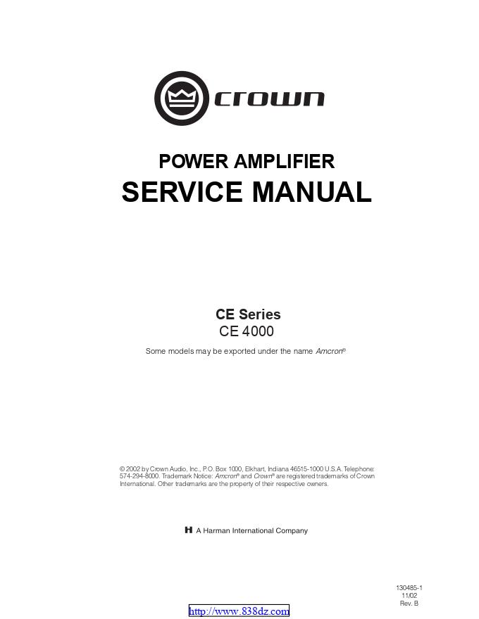 CROWN 皇冠CE4000功放电路图