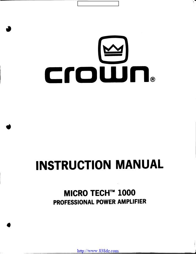 CROWN 皇冠MICRO-TECH 1000 MT1000功放电路图