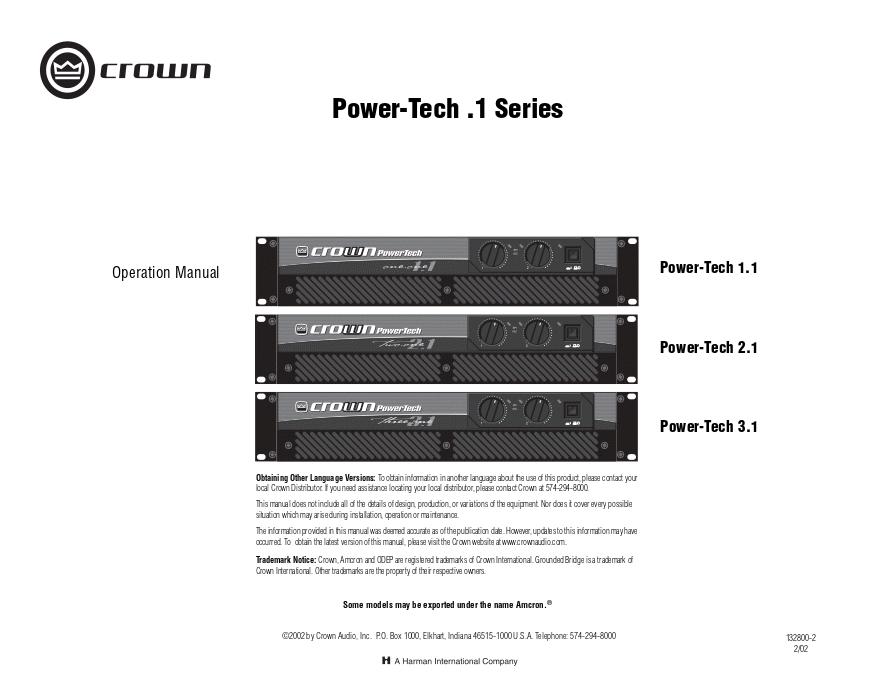 皇冠crown PT3 Power-Tech 3.1功放维修手册