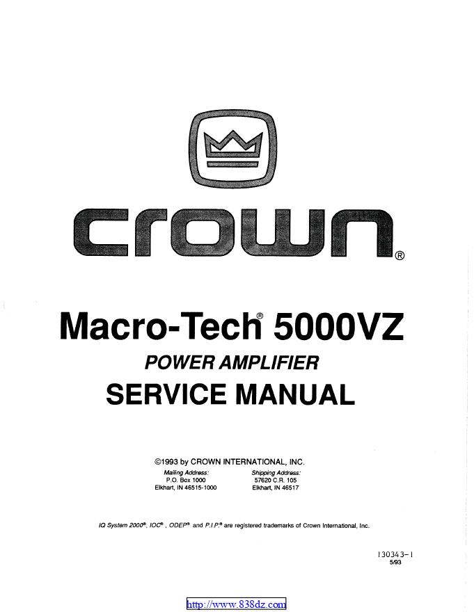 CROWN皇冠MACRO-TECH 5000vz MA-5000VZ功放电路图