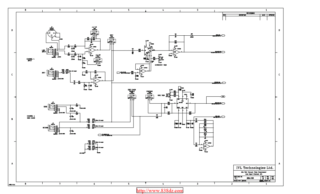 DBX 566双通道电子管压缩效果器维修图纸