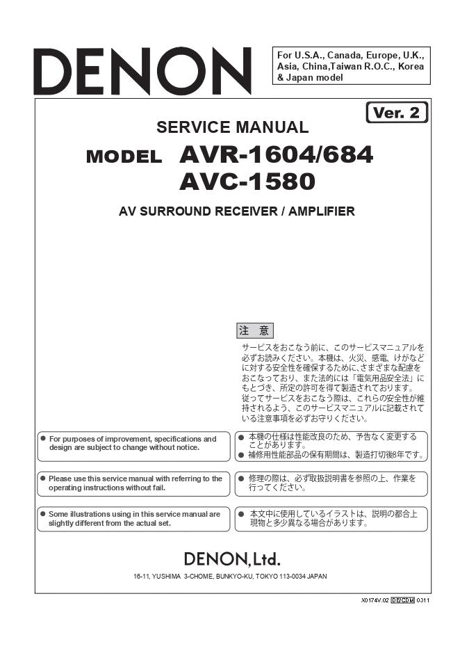天龙Denon AVR-1604 AV功放机电路图