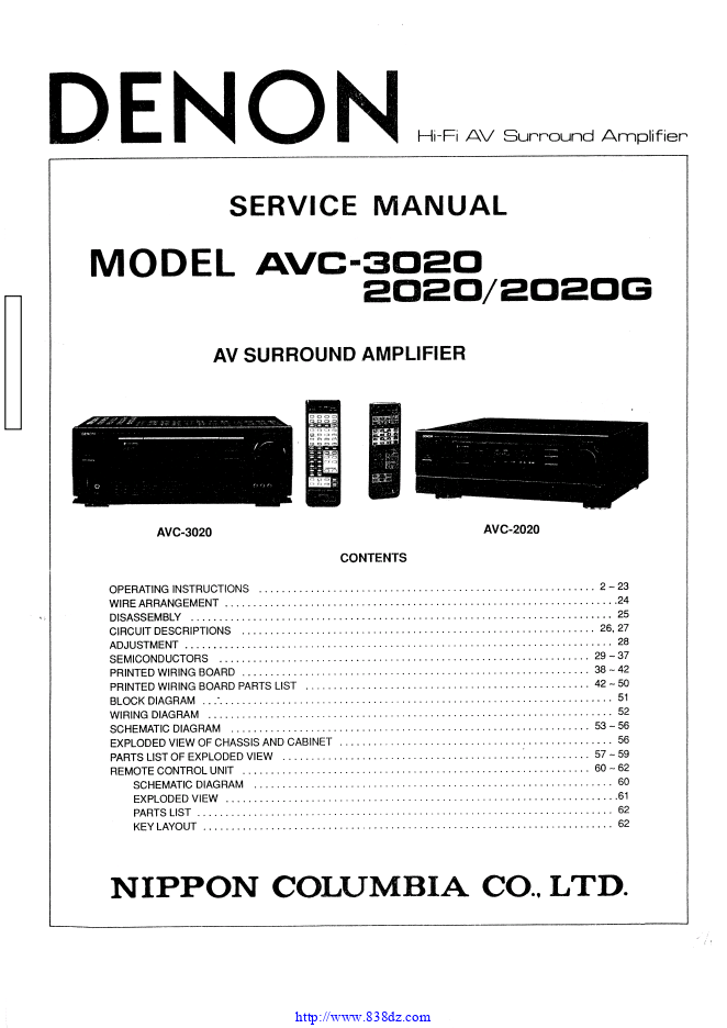 天龙Denon AVC-2020G AV功放机电路图