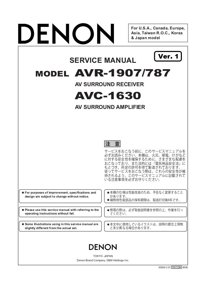 天龙Denon AVR-1907 AV功放机电路图