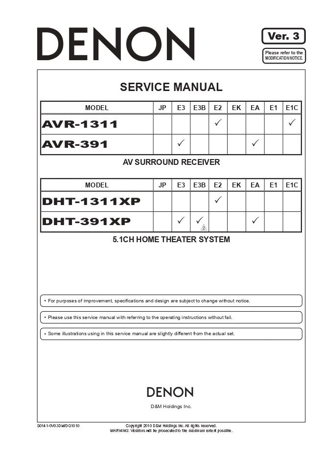 Denon天龙 AVR-391 DHT-1311XP DHT-391XP功放维修手册