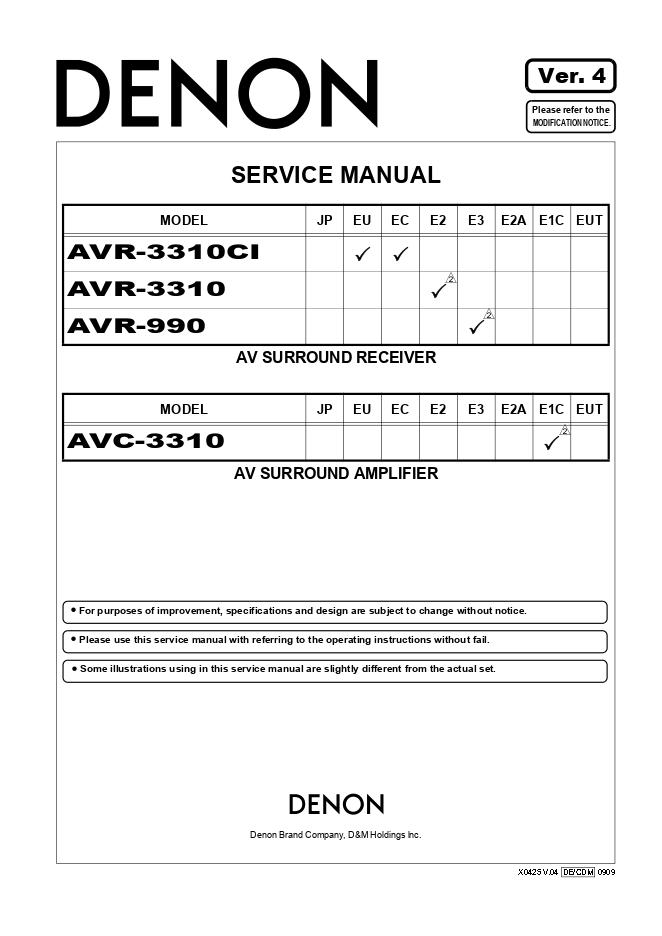 Denon 天龙 AVR-3310功放维修手册