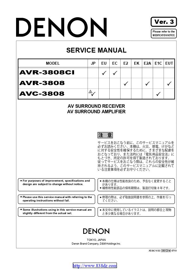 Denon 天龙 AVR-3808CI功放维修手册
