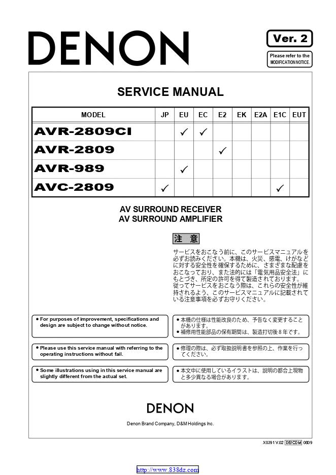 Denon 天龙 AVR-2809功放维修手册