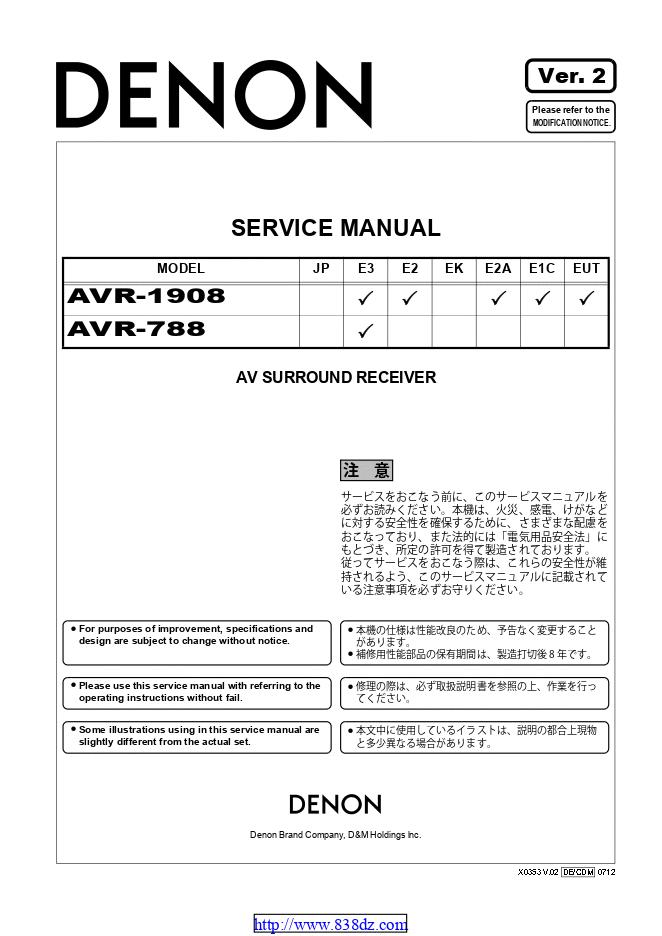 Denon 天龙 AVR-788功放维修手册