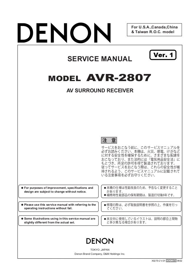 天龙Denon AVR-2807功放机电路图