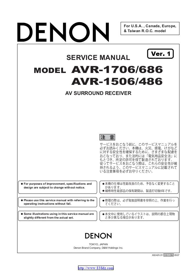 天龙Denon AVR-1706 AV功放机电路图