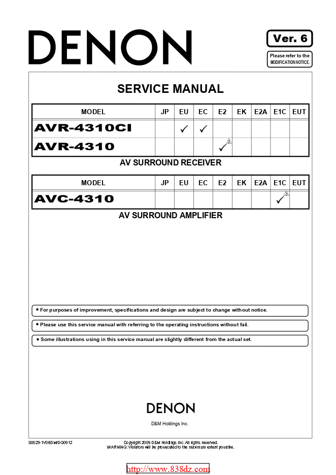 Denon天龙 AVR-4310CI功放维修手册