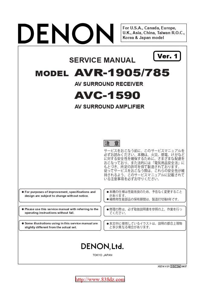 Denon天龙 AVR-785功放维修手册