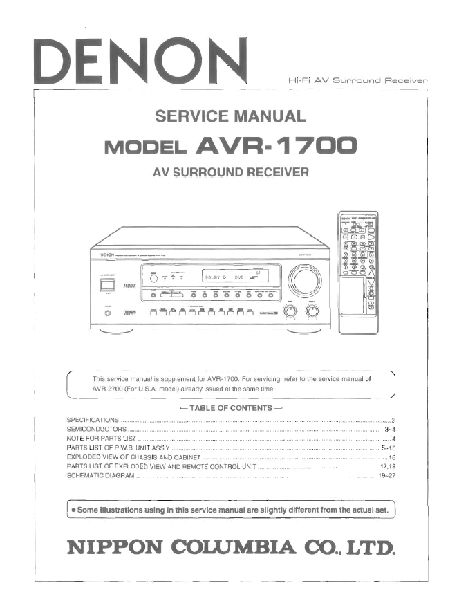DENON天龙 AVR-1700功放维修手册