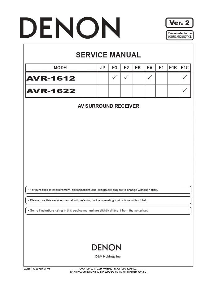 Denon天龙AVR-1612 AVR-1622功放维修手册