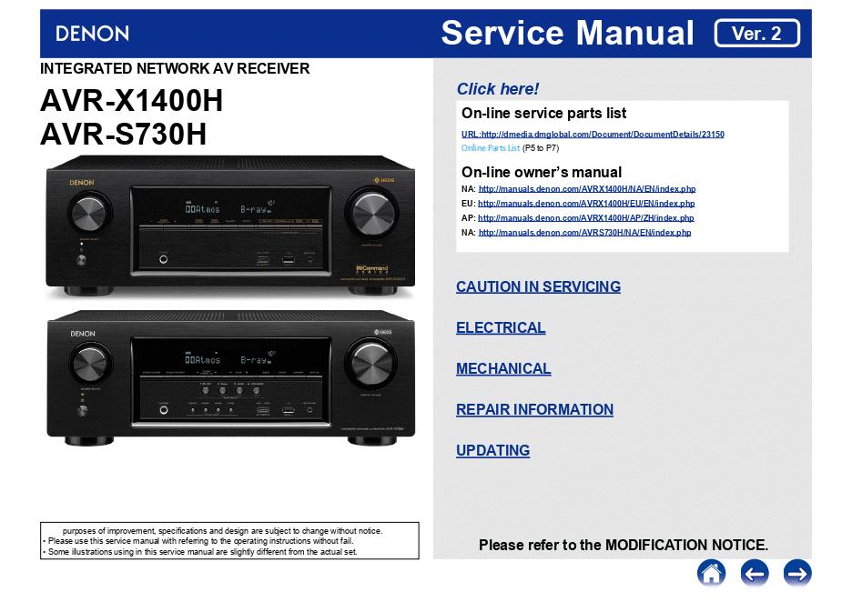 DENON天龙AVR-X1400H AVR-S370H功放维修手册