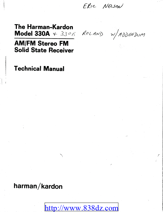 Harman Kardon哈曼卡顿 330a收音功放维修手册