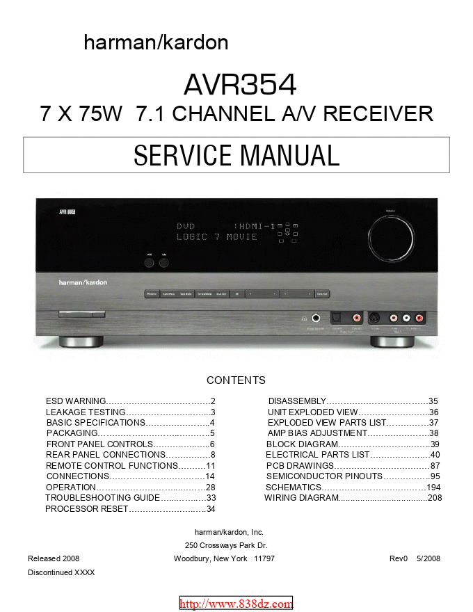 Harman Kardon哈曼卡顿 AVR354 功放维修手册