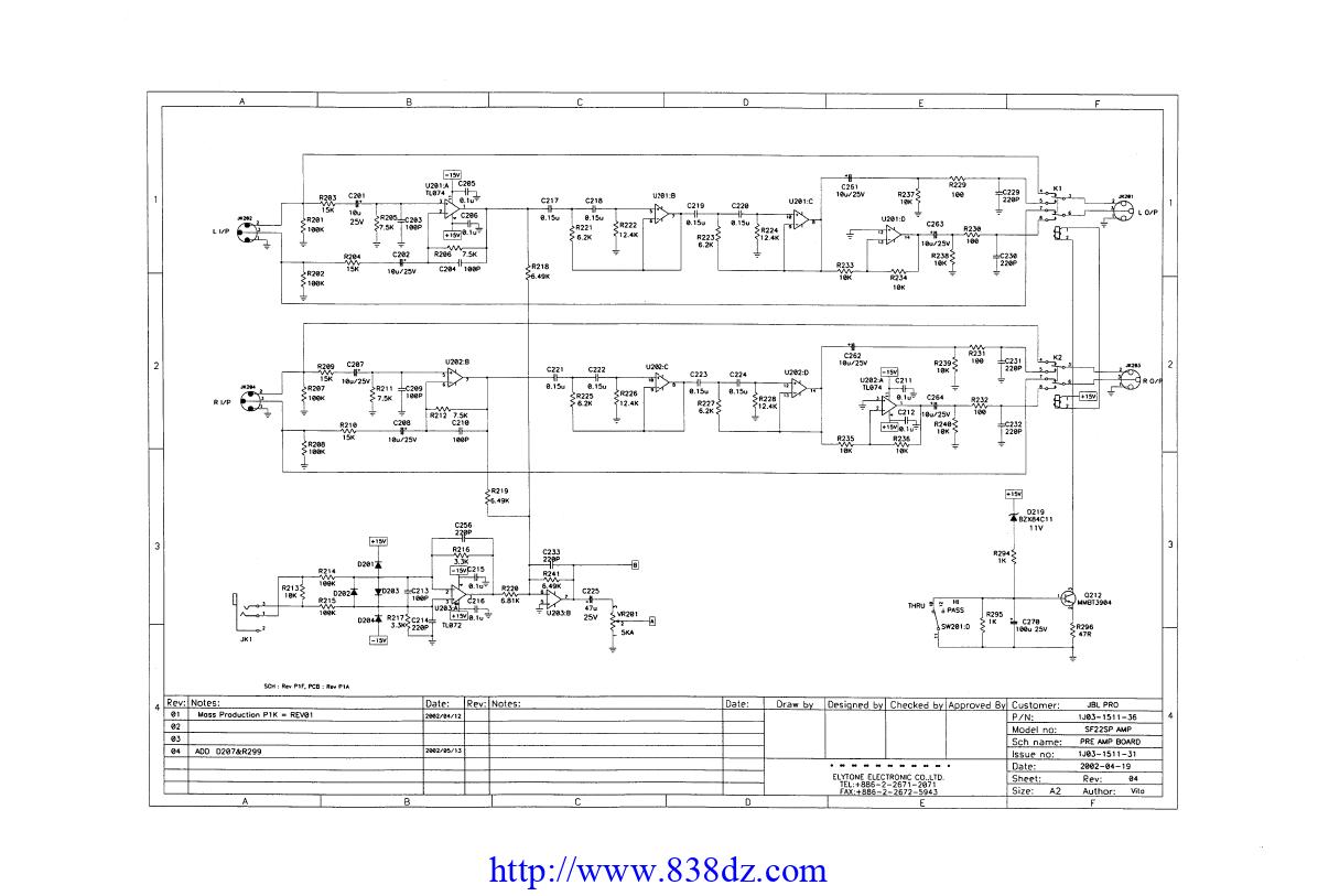 JBL SF22SP有源音箱功放维修电路图纸