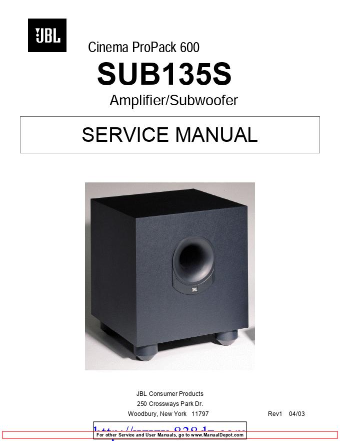 JBL SUB-135低音炮有源音箱功放维修手册