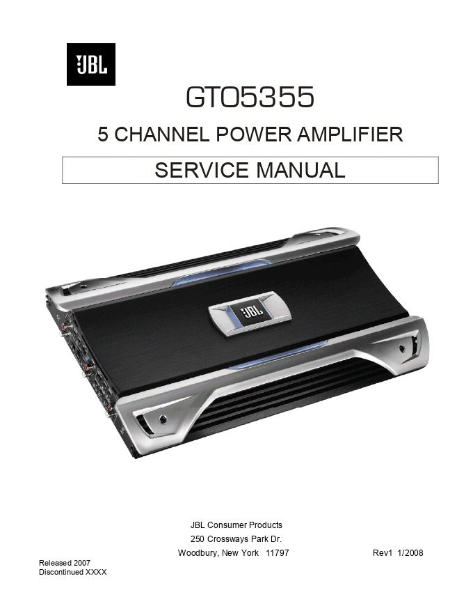 JBL GTO5355 5声道功率放大器功放维修手册