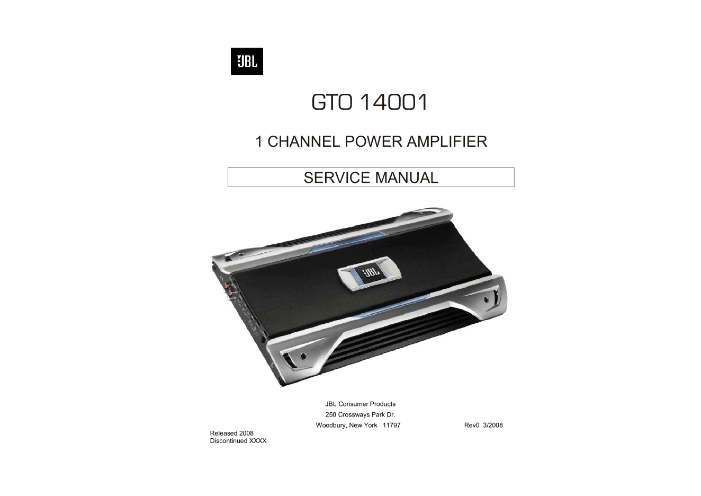 JBL GTO14001 1声道功率放大器功放维修手册