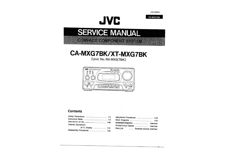 JVC CA-MXG7BK XT-MXG7BK RX-MXG7BK SE-MXG7BK TD-MXG7BK XL-MXG7BK组合音响维修手册
