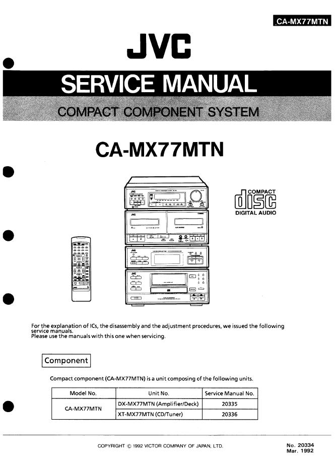 jvc CA-MX77MTN组合音响维修手册