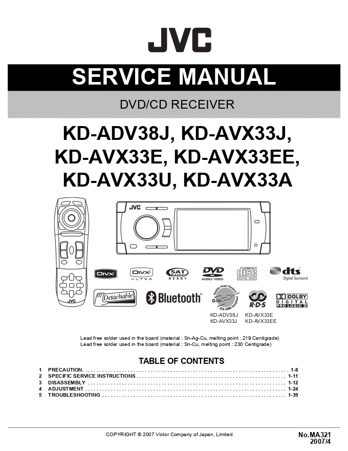 JVC  KD-ADV38J KD-AVX33J KD-AVX33E KD-AVX33EE KD-AVX33U KD-AVX33A CD/DVD播放器维修手册