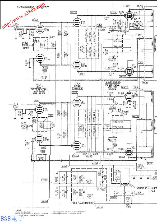 LUXMAN力士 MQ-50电子管后级功放电路图